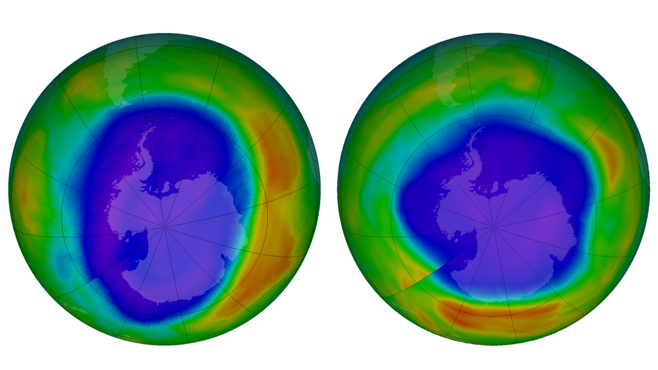 antartica low level of ozone 2000 and 2018